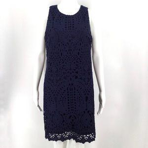 ELIZA J Dress 6 Lace Navy Blue Sleeveless Cocktail